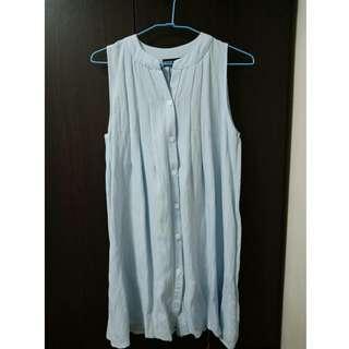 水藍色無袖長版背心洋裝