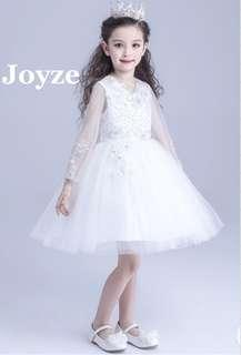Kids White Dress (See Through Sleeves)