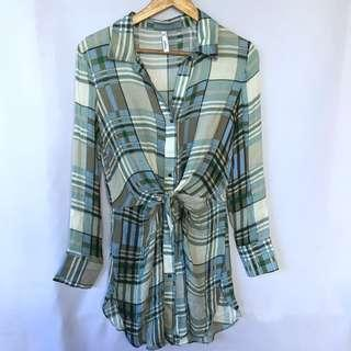MANGO plaid knotted dress