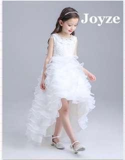 White Long Tail Kids Gown (White)