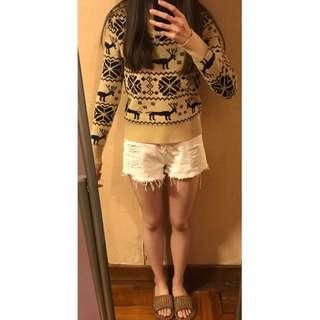 女裝厚身保暖毛衣 杏色黑紋 質地舒服 穿上唔吉