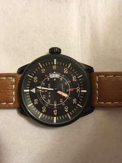 軍表 黑鋼殼皮帶 Military style watch, black steel case, genuine brown leather strap , genuine brown leather strap