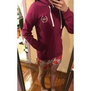 BOSSINI 女裝棉質開胸拉鏈外套 質地舒服 紫紅色