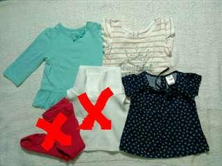 Preloved Circo Justees and Wee Wear Tops for 6M Baby Girl (Take All Set)