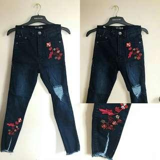 Embroidered Tattered Pants