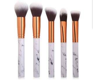 5 Pieces Makeup Brushes Set - Marble design