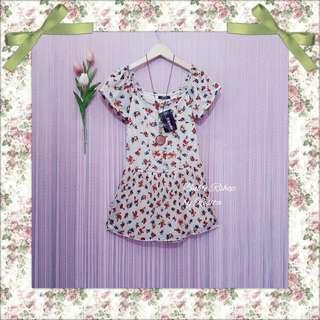 Mini summer dress sabrina top tropical floral flower kembang bunga