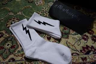 Stokin Bebudak Hipster: Lighting (white long socks)