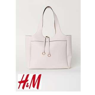 H&M LIGHT BEIGE PU Leather Shopper Tote Bag (W/ Paper Bag)