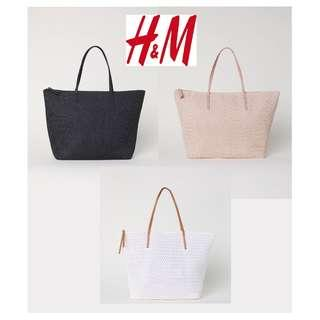 H&M Straw Shopper Beach Tote Bag