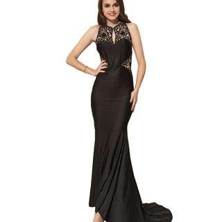 CELLY Plus Size Embroidery High Neck Keyhole Backless Black Party Gown (CSOH V1006-1)