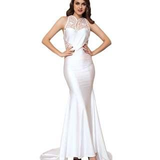 CELLY Embroidery Sleeveless High Neck Backless White Party Gown (CSOH V1006-2)