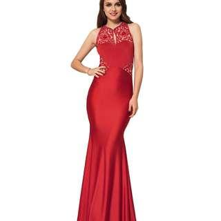 CELLY High Neck Red Embroidery Flower Backless Party Dress (CSOH V1006-3)