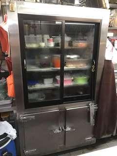 Seafood Stall Used Commercial 2 Display Glass Door Chiller C/W Bottom 2 Door Freezer For Sales