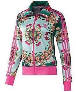 7a918ccf1e7 Adidas Originals Floral Teal Jacket AUTHENTIC
