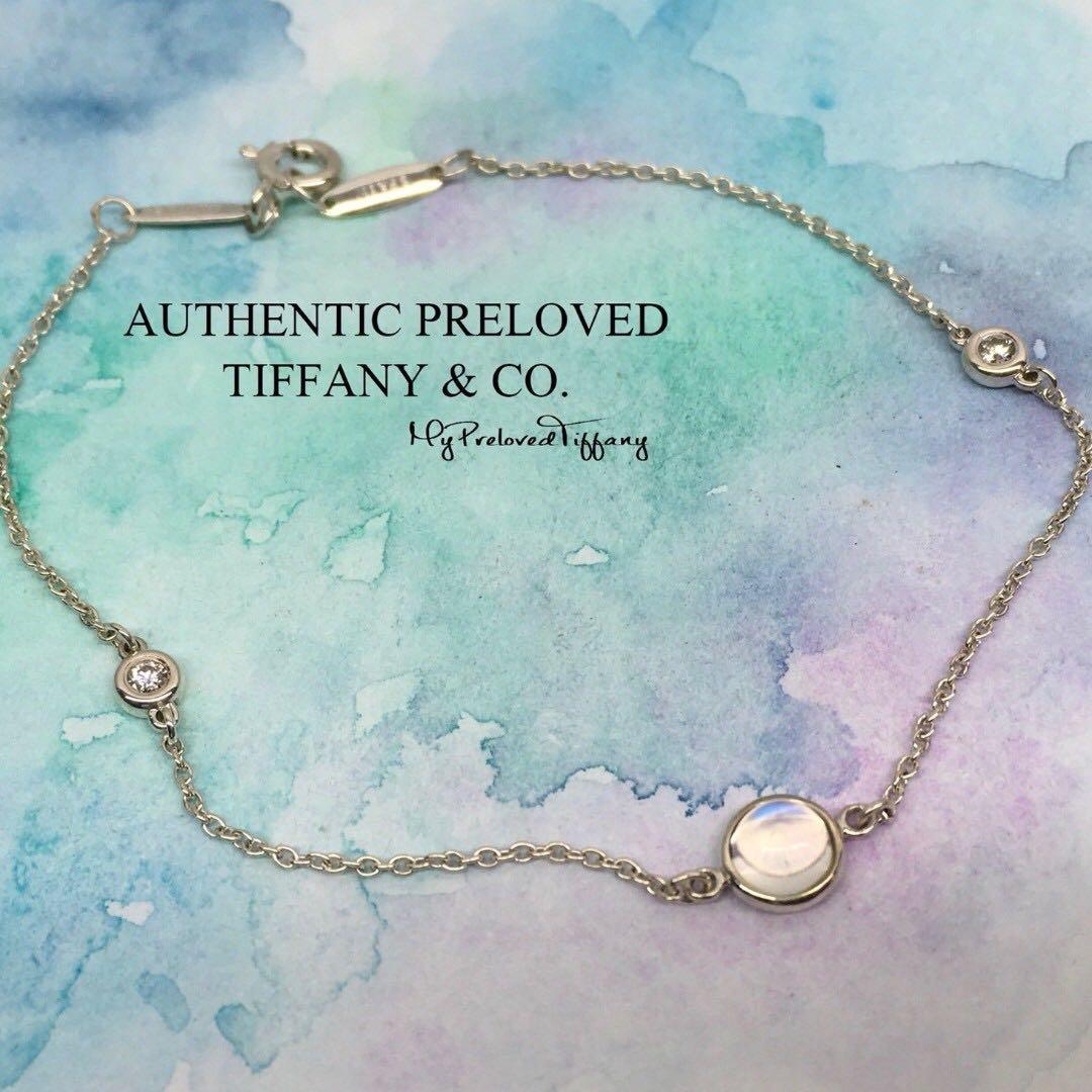 90fe361ed Authentic Tiffany & Co Elsa Peretti By The Yard Diamond Moonstone ...