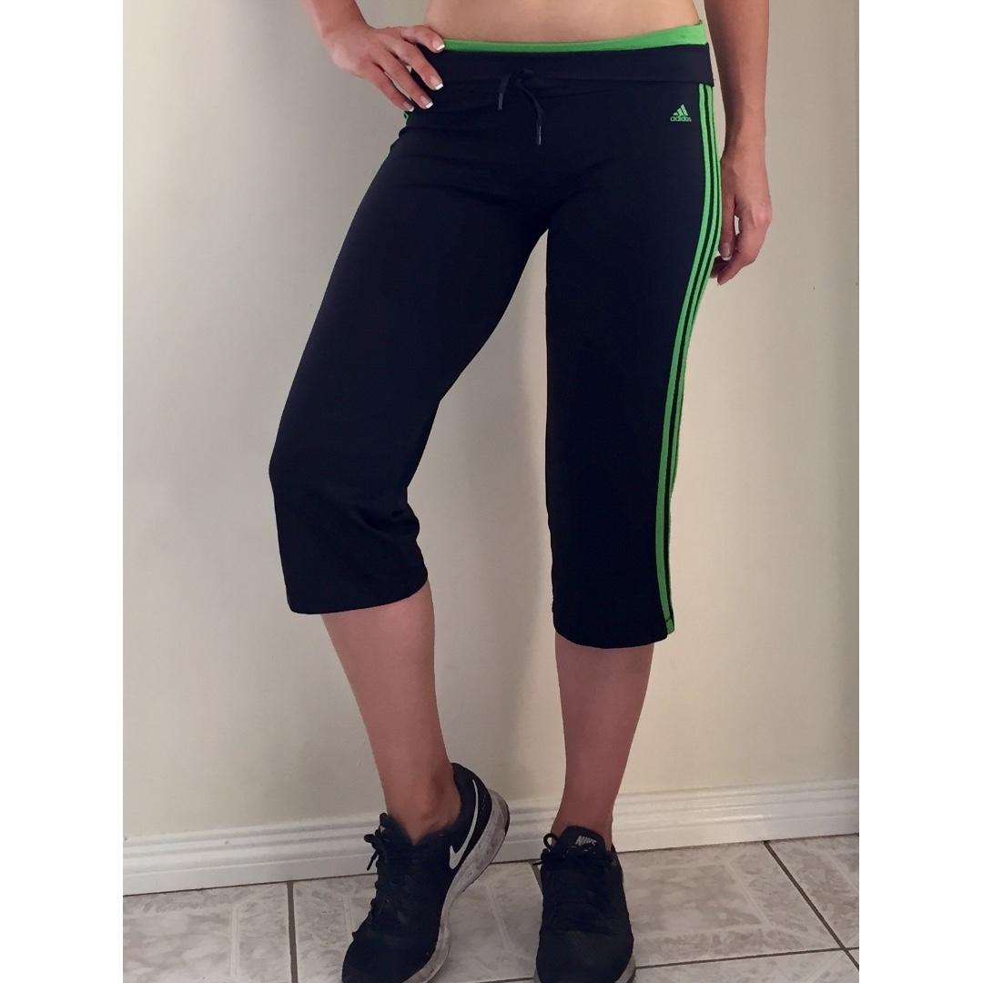8ef7f5f61cbf Black   Green Adidas Climacool 3 4 Gym Workout Pants Sz 12 AU ...
