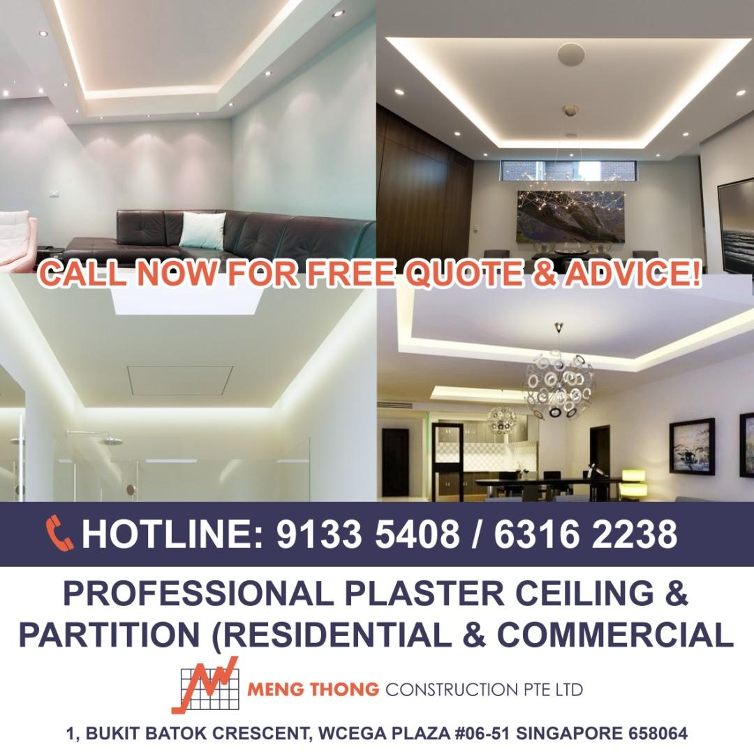 Call us now! Plaster ceiling/Partition works/Cornice/False ceiling
