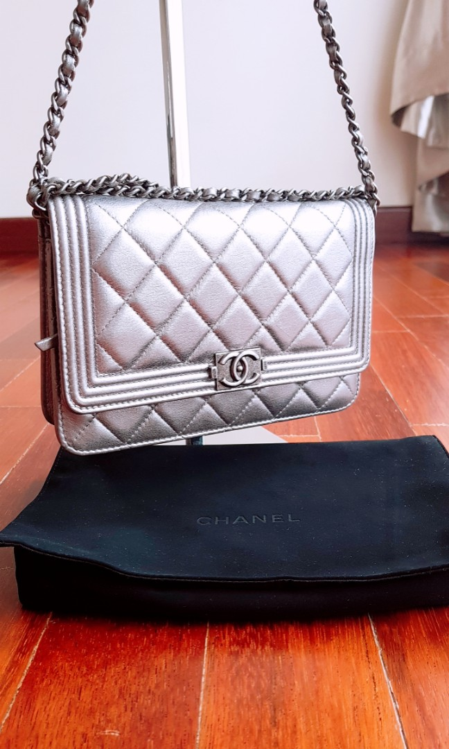 d18b2b0207e9 CHANEL Lambskin Quilted Boy Wallet On Chain (Silver)