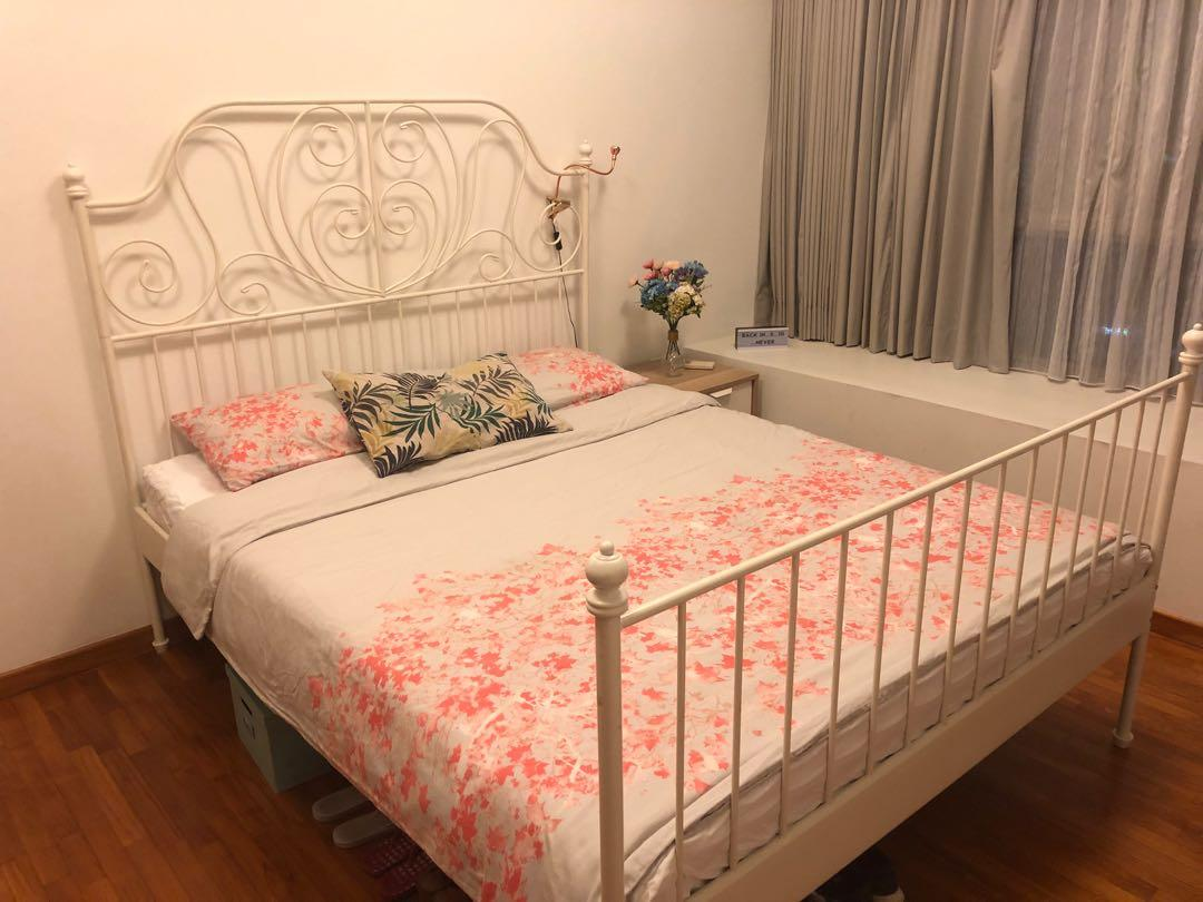 Picture of: Ikea White Metal Bed Frame And Matress 150x200cm Furniture Beds Mattresses On Carousell