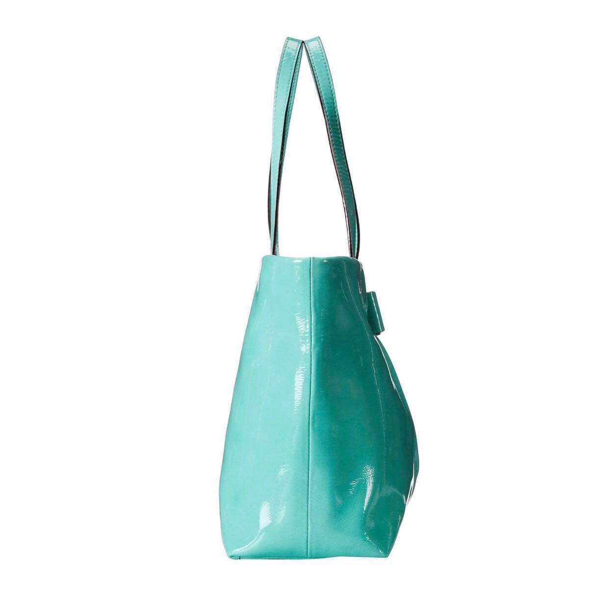 Kate Spade Veranda Place Patent Small Evie Shoulder Bag (Tote) with dust bag Color: Fresh Air (Tiffany Blue)