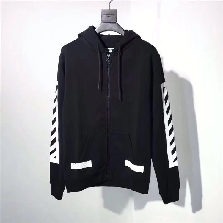459eaa245a3a Off White Brushed Black Zip Hoodie