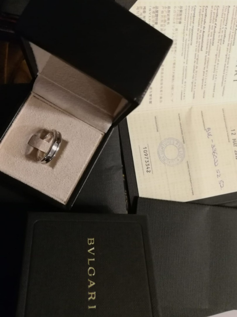 Bvlgari B Zero Solid 18k Gold Ring Wedding Bands Size 50 Luxury