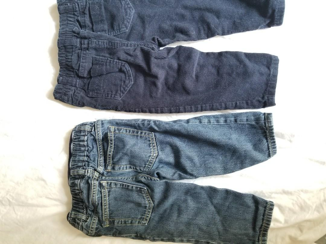 Size 12-18mth baby pants. Fashionable distressed jeans and corduroy pants. Excellent condition. Porch pick up Beaches near Main and Gerrard for $10. Or Yorkville pickup for $12.