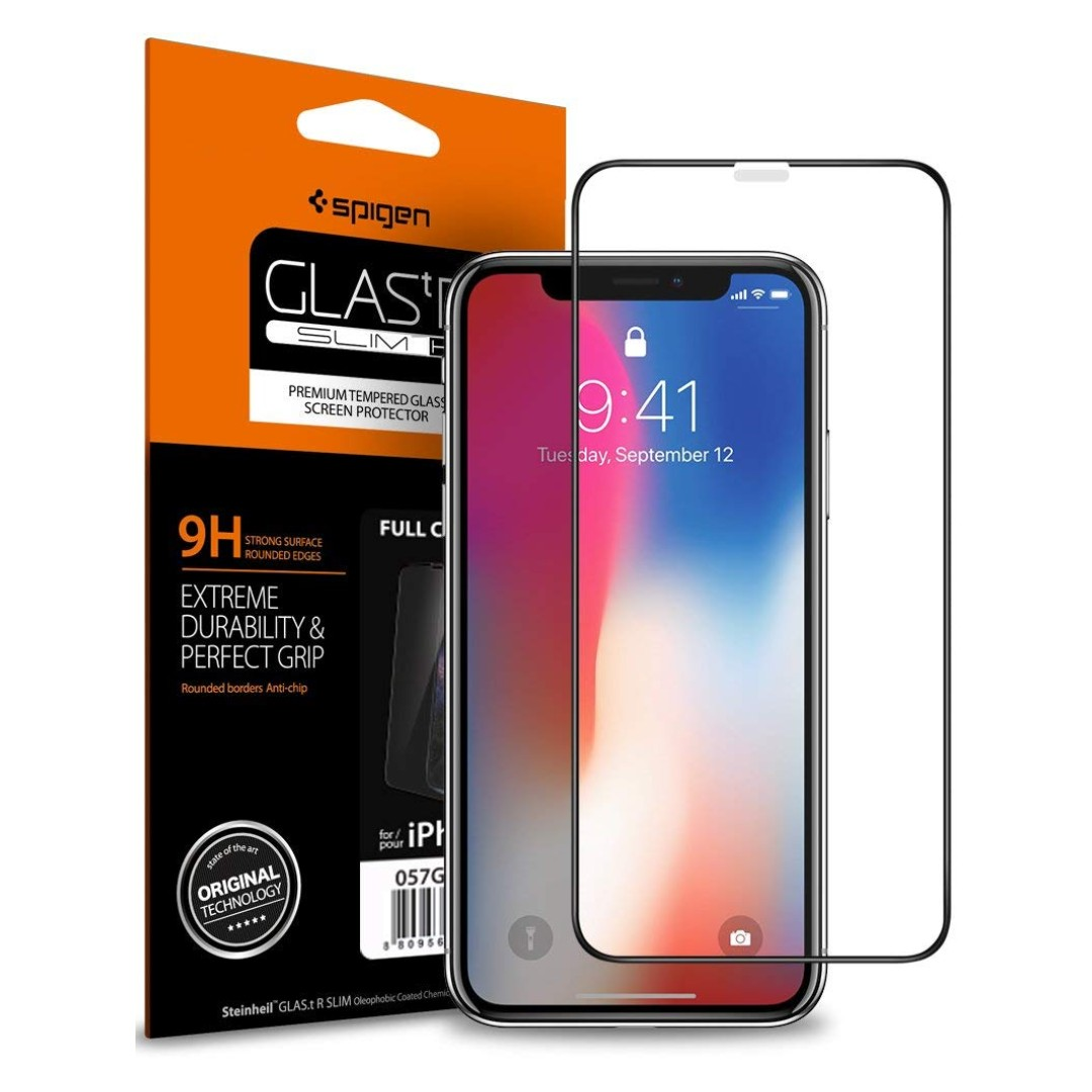 premium selection ed8c5 40fde Spigen iPhone XS Max / XS /X Tempered Glass Screen Protector