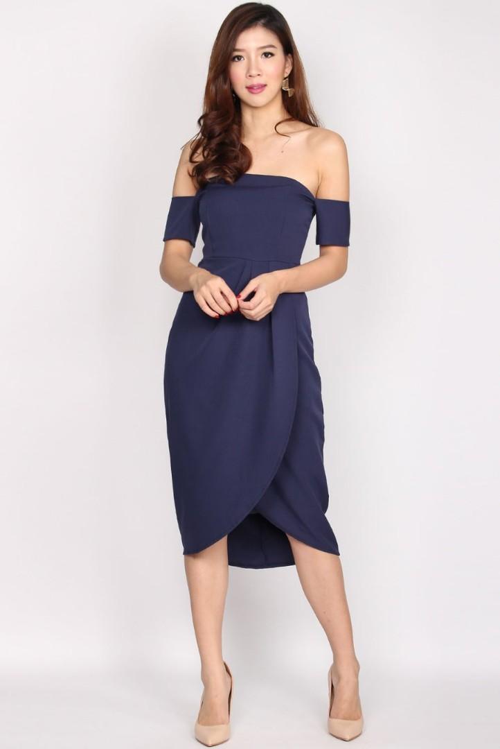 8cbc87023037 The Design Closets - Aramenor Off Shoulder Tulip Dress, Navy Blue ...