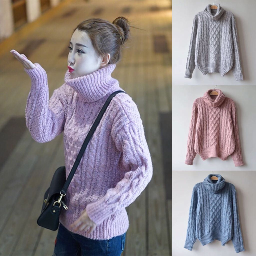 7f3e0121f Winter season sweater high collar solid color pullover twist long ...