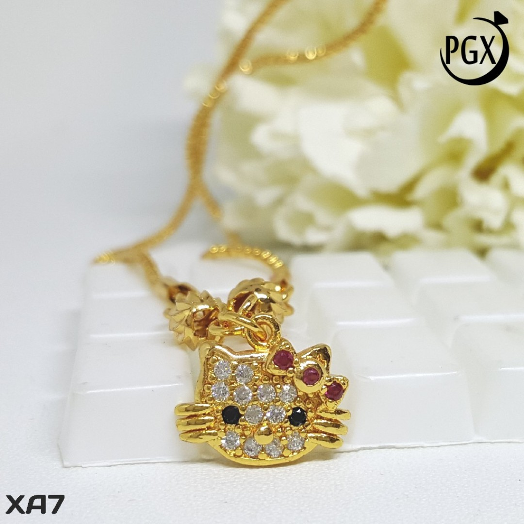 XA7 Kalung Anak Hello Kitty / Set Perhiasan Imitasi Xuping Lapis Emas, Women's Fashion, Women's Jewelry on Carousell