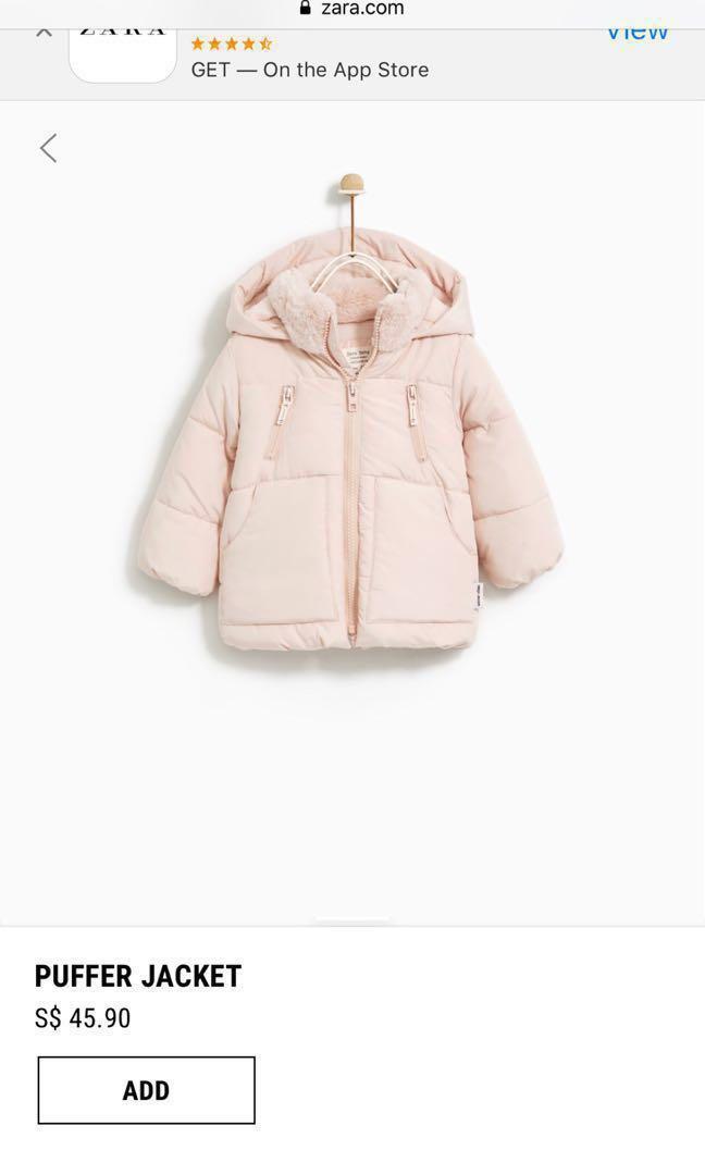 c693eb88 Zara (3-4 yrs)baby girl puffer winter jacket, Babies & Kids, Girls ...