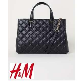 H&M Large Quilted Black Handbag
