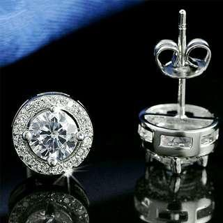 🚚 925 Silver Sparkling Bling Round Crystal Zircon Earrings