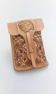 Hand Tooled Western Style Leather Biker Waist Pouch