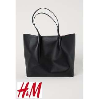 H&M PU Leather Snap Magnetic Closure Shopper Tote Bag