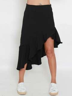 Black Ruffle Asymmetrical Midi Skirt