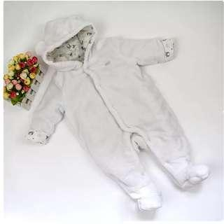 White overall with bear ear hoodie