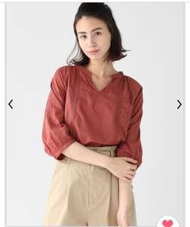 🚚 🇯🇵日本帶回Glacier 磚紅刺繡七分袖上衣
