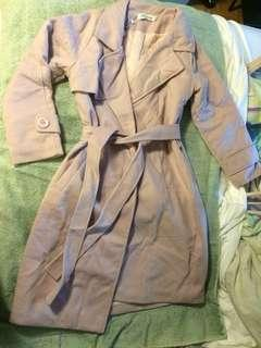 BNWT faux wool light pink trench style coat