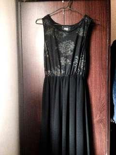Long Classy Black Dress x Mesh x Silk