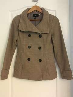 H&M beige pea coat size 4