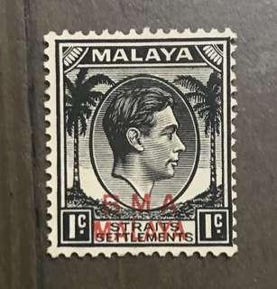 Singapore Straits BMA king George VI stamp mint 1c (toned gum)