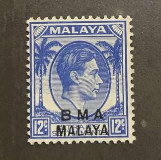 Singapore Straits BMA king George VI stamp mint 12c(clean front, gum toning)