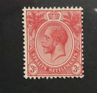Singapore Strait King George V stamp mint MNH 3c red (Fresh clean gum)