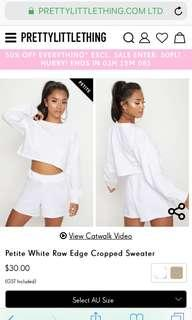 BNWT - PrettyLittleThing white cropped sweater