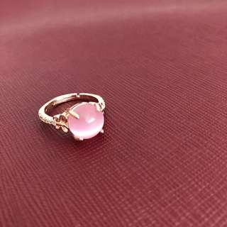 Rose quartz pink faux diamond ring