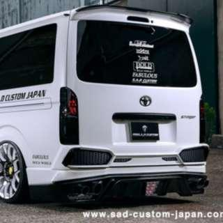 PREORDER for Nov 2018 MEGA shipment. Preorder to save more. TOYOTA HIACE EURO 3 to EURO 6 . SAD STINGER REAR BUMPER AND TRUNK ADD ON GARNISH.