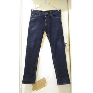 H & M 藍色低腰slim fit 牛仔褲